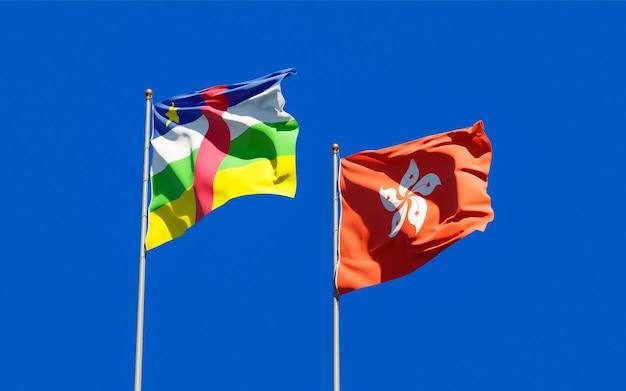 Drapeaux de hong kong hk et rca république centrafricaine.