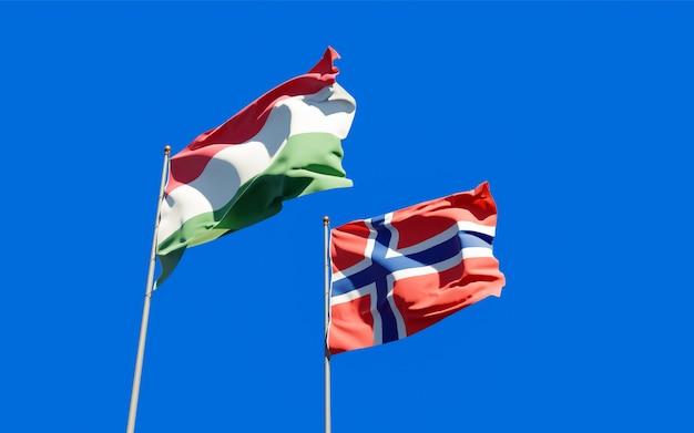 Drapeaux de la hongrie et de la norvège