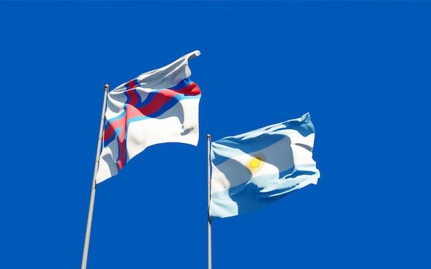 Drapeaux des îles féroé et de l'argentine. illustration 3d