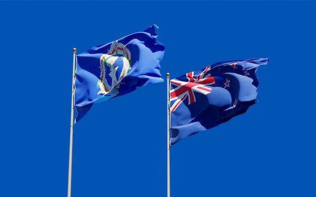 Drapeaux des îles mariannes du nord et de la nouvelle-zélande