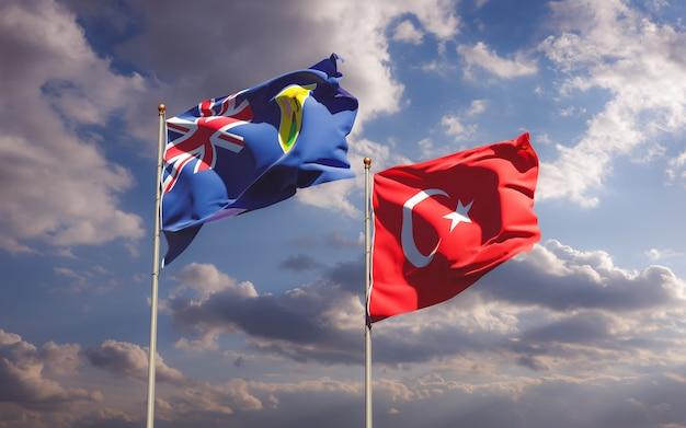 Drapeaux des îles turques et caïques et de la turquie sur fond de ciel