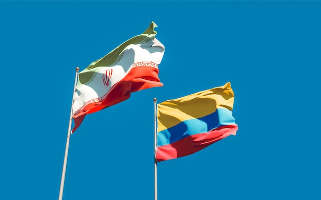 Drapeaux de l'iran et de la colombie. illustration 3d