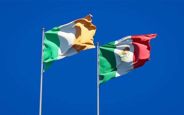 Drapeaux de l'irlande et du mexique. illustration 3d