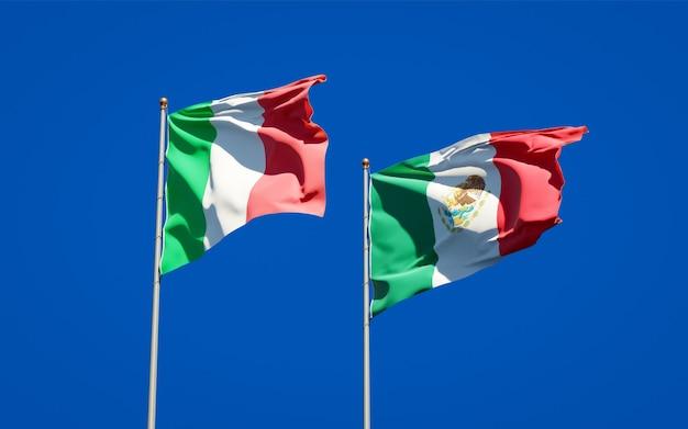 Drapeaux de l'italie et du mexique. illustration 3d