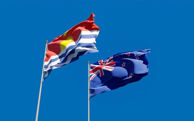 Drapeaux de kiribati et de nouvelle-zélande