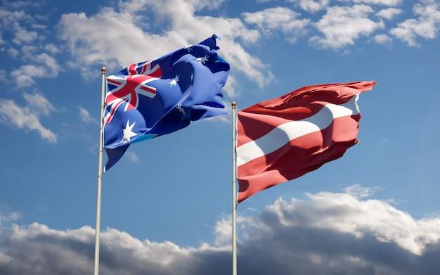 Drapeaux de la lettonie et de l'australie.