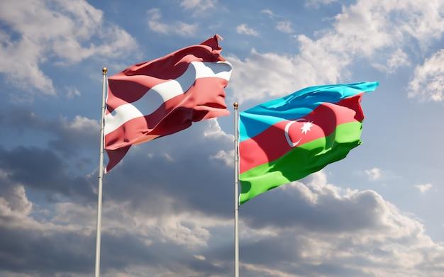 Drapeaux de la lettonie et de l'azerbaïdjan. illustration 3d