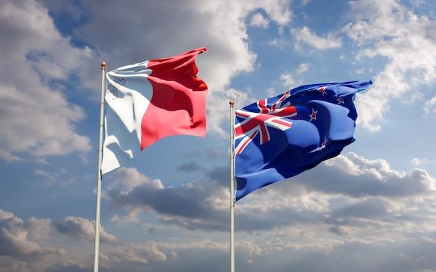 Drapeaux de malte et de la nouvelle-zélande