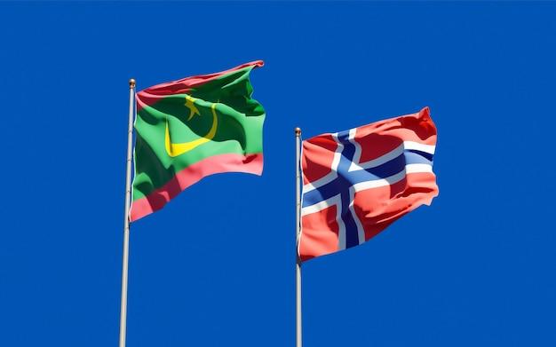 Drapeaux de la mauritanie et de la norvège