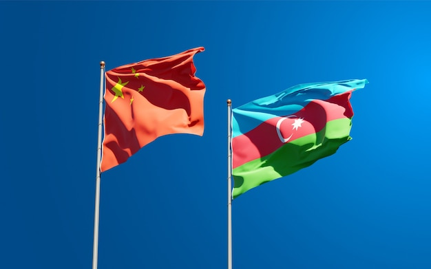 Drapeaux nationaux de l'azerbaïdjan et de la chine
