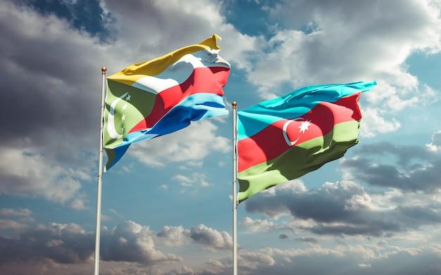 Drapeaux nationaux de l'azerbaïdjan et des comores