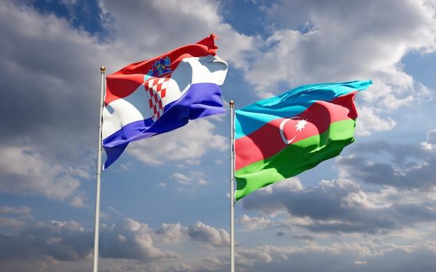 Drapeaux nationaux de l'azerbaïdjan et de la croatie