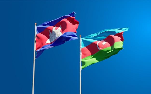 Drapeaux nationaux de l'azerbaïdjan et du cambodge