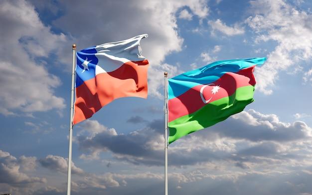 Drapeaux nationaux de l'azerbaïdjan et du chili