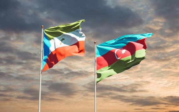 Drapeaux nationaux de l'azerbaïdjan et de la guinée équatoriale ensemble