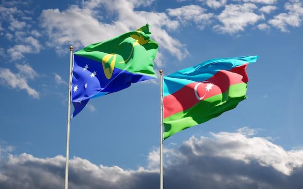 Drapeaux nationaux de l'azerbaïdjan et de l'île christmas