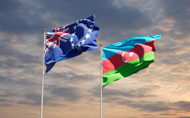 Drapeaux nationaux de l'azerbaïdjan et de l'île cook