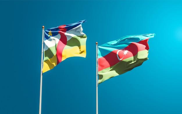 Drapeaux nationaux de l'azerbaïdjan et de la rca république centrafricaine