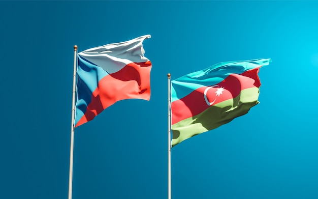 Drapeaux nationaux de l'azerbaïdjan et de la république tchèque