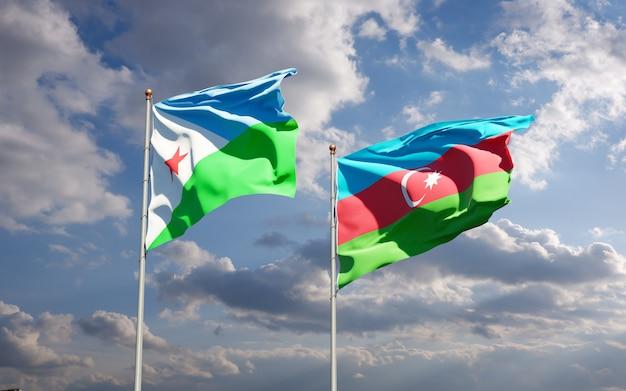 Drapeaux nationaux de djibouti et d'azerbaïdjan ensemble