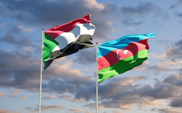Drapeaux nationaux du soudan et de l'azerbaïdjan ensemble