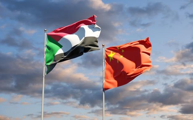 Drapeaux nationaux du soudan et de la chine ensemble