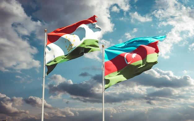 Drapeaux nationaux du tadjikistan et de l'azerbaïdjan ensemble