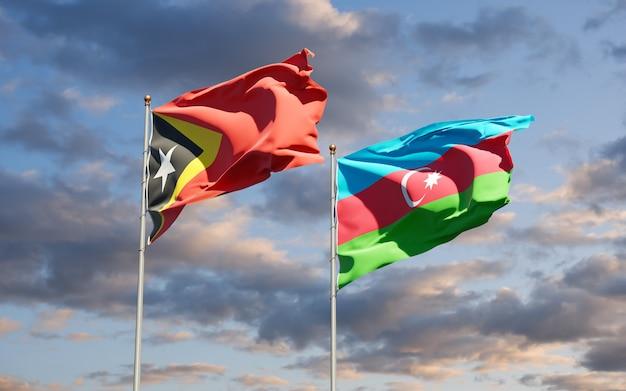 Drapeaux nationaux du timor oriental et de l'azerbaïdjan ensemble