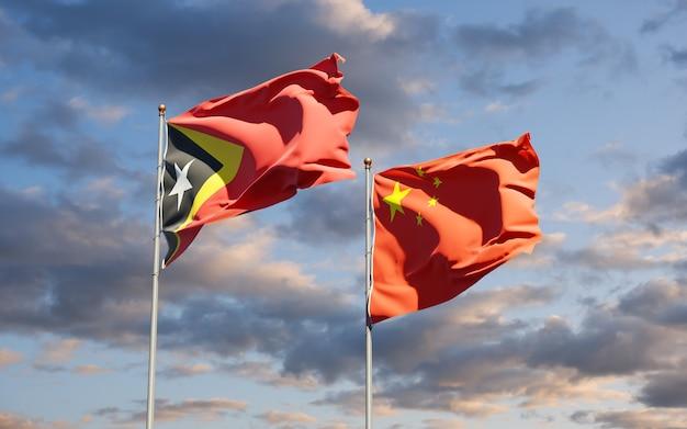 Drapeaux nationaux du timor oriental et de la chine ensemble