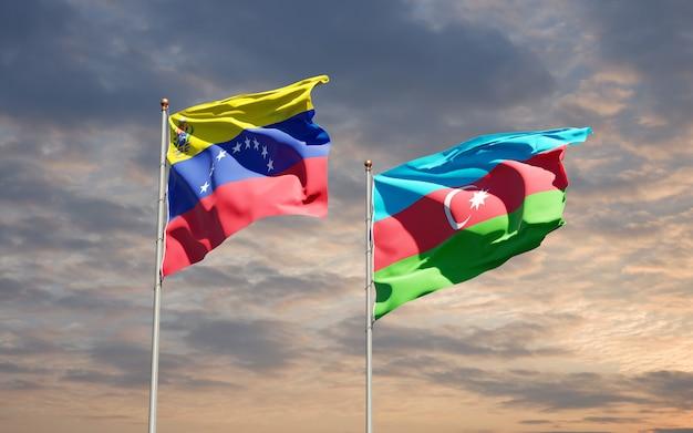 Drapeaux nationaux du venezuela et de l'azerbaïdjan ensemble