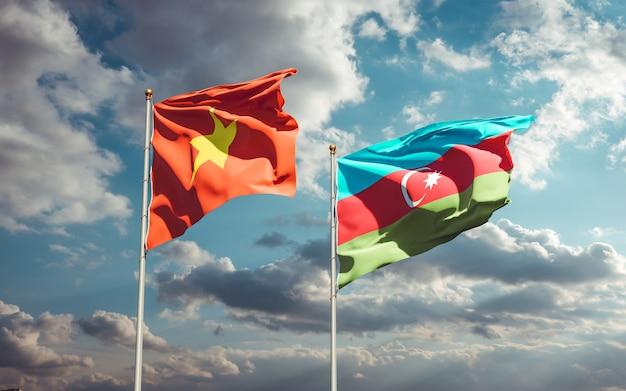 Drapeaux nationaux du vietnam et de l'azerbaïdjan ensemble