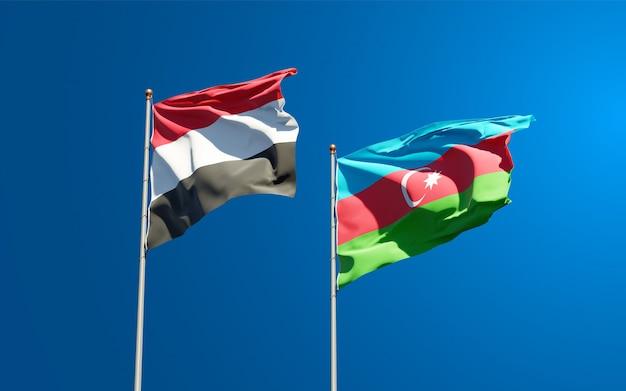 Drapeaux nationaux du yémen et de l'azerbaïdjan ensemble