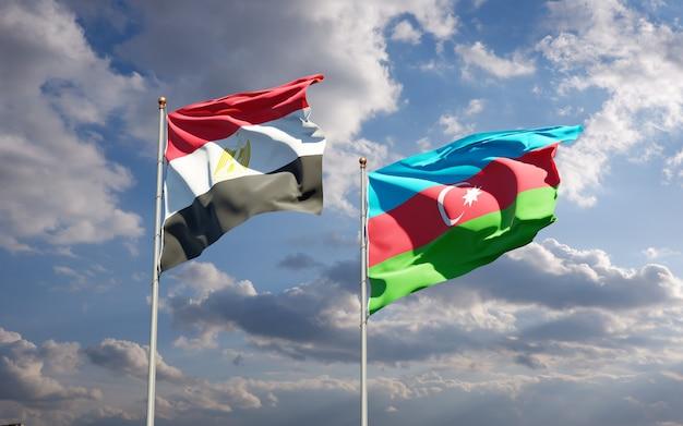 Drapeaux nationaux d'égypte et d'azerbaïdjan ensemble
