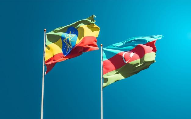 Drapeaux nationaux d'éthiopie et d'azerbaïdjan ensemble