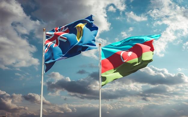 Drapeaux nationaux des îles turques et caïques et de l'azerbaïdjan ensemble