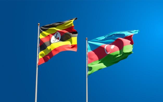 Drapeaux nationaux de l'ouganda et de l'azerbaïdjan ensemble