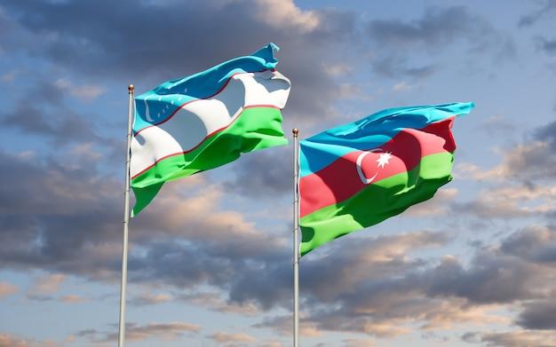 Drapeaux nationaux de l'ouzbékistan et de l'azerbaïdjan ensemble