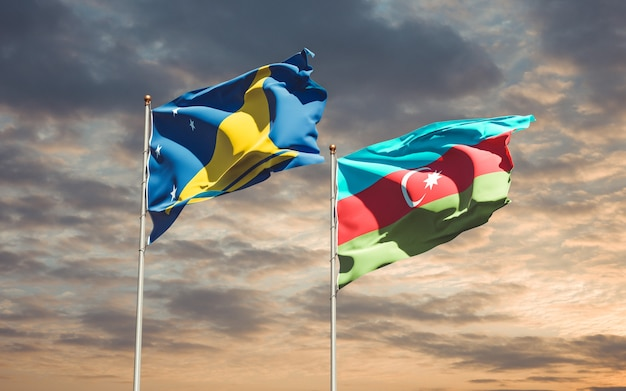 Drapeaux nationaux des tokelau et de l'azerbaïdjan ensemble