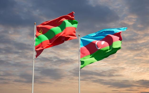 Drapeaux nationaux de transnistrie et d'azerbaïdjan ensemble