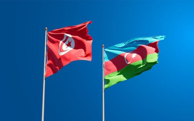 Drapeaux nationaux de la tunisie et de l'azerbaïdjan ensemble