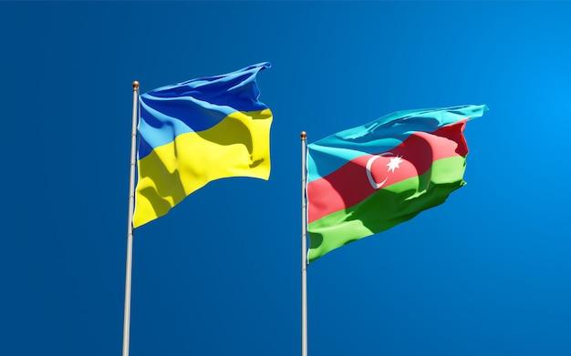 Drapeaux nationaux de l'ukraine et de l'azerbaïdjan ensemble
