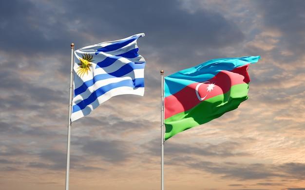 Drapeaux nationaux de l'uruguay et de l'azerbaïdjan ensemble