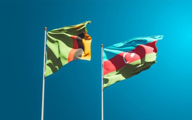 Drapeaux nationaux de la zambie et de l'azerbaïdjan ensemble