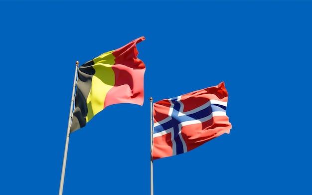 Drapeaux de la norvège et de la belgique.