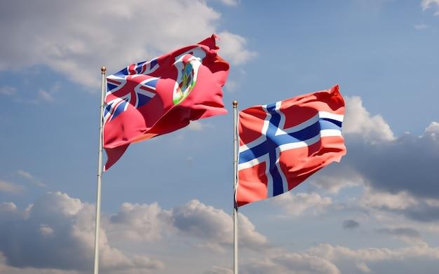 Drapeaux de la norvège et des bermudes. illustration 3d