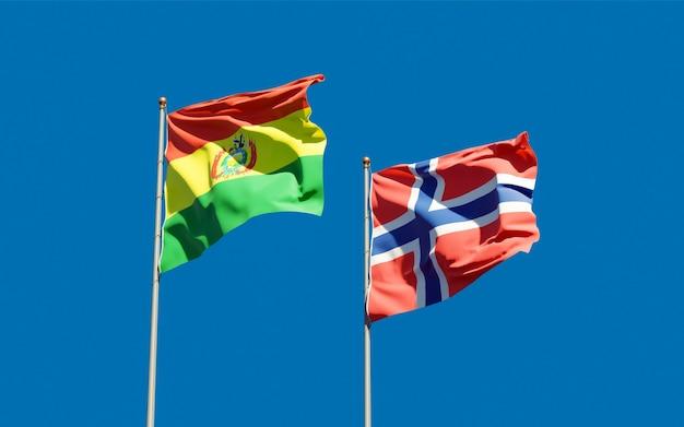 Drapeaux de la norvège et de la bolivie.