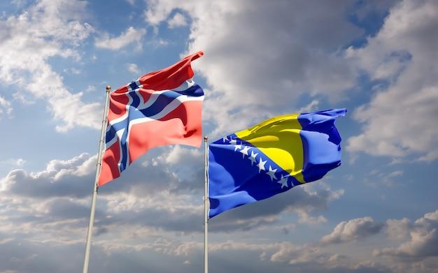 Drapeaux de la norvège et de la bosnie-herzégovine. illustration 3d