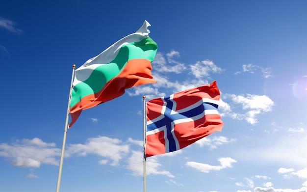 Drapeaux de la norvège et de la bulgarie. illustration 3d