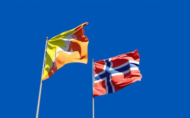 Drapeaux de la norvège et du bhoutan.