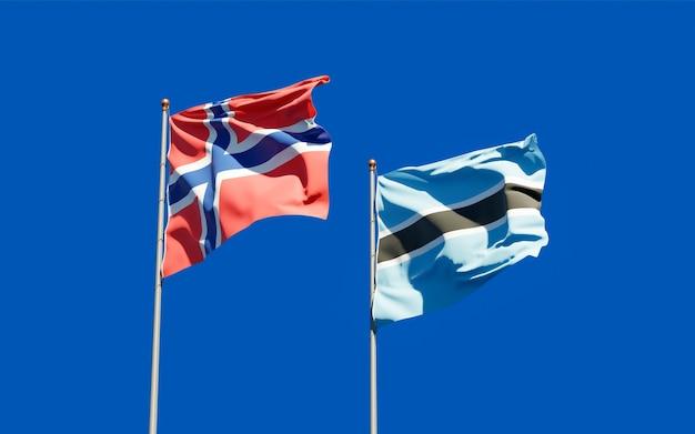 Drapeaux de la norvège et du botswana. illustration 3d